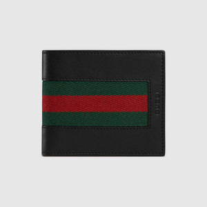Gucci leather stripe wallet black